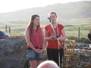 Catherine McGinley and Ellie McGinley performing at Oideas Gael's Gathering.
